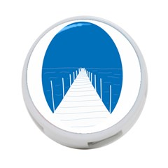 Bridge Sea Beack Blue White 4 Port Usb Hub (one Side) by Mariart