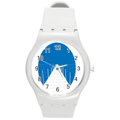 Bridge Sea Beack Blue White Round Plastic Sport Watch (m) by Mariart
