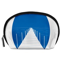 Bridge Sea Beack Blue White Accessory Pouches (large)  by Mariart