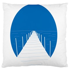 Bridge Sea Beack Blue White Standard Flano Cushion Case (one Side) by Mariart