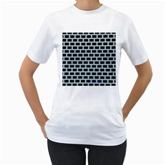 Bricks Black Blue Line Women s T Shirt (white) (two Sided) by Mariart