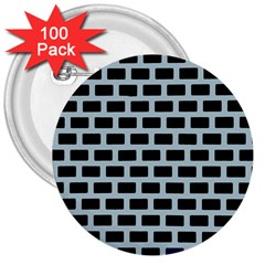 Bricks Black Blue Line 3  Buttons (100 Pack)  by Mariart