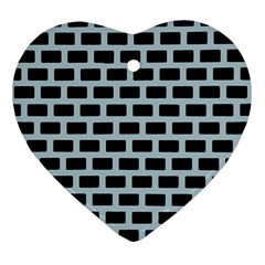 Bricks Black Blue Line Heart Ornament (two Sides) by Mariart