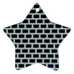 Bricks Black Blue Line Star Ornament (two Sides) by Mariart