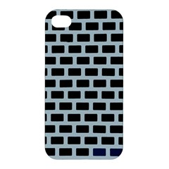 Bricks Black Blue Line Apple Iphone 4/4s Premium Hardshell Case by Mariart