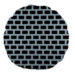 Bricks Black Blue Line Large 18  Premium Round Cushions by Mariart