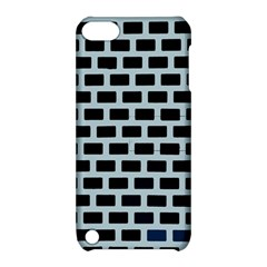 Bricks Black Blue Line Apple Ipod Touch 5 Hardshell Case With Stand by Mariart