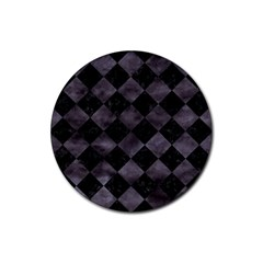 Square2 Black Marble & Black Watercolor Rubber Round Coaster (4 Pack) by trendistuff