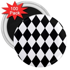 Broken Chevron Wave Black White 3  Magnets (100 Pack) by Mariart