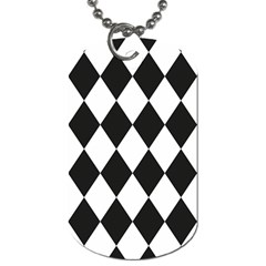 Broken Chevron Wave Black White Dog Tag (one Side) by Mariart