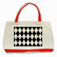 Broken Chevron Wave Black White Classic Tote Bag (red) by Mariart