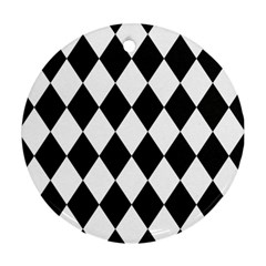 Broken Chevron Wave Black White Round Ornament (two Sides) by Mariart