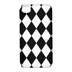 Broken Chevron Wave Black White Apple Iphone 4/4s Hardshell Case With Stand by Mariart