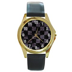Square1 Black Marble & Black Watercolor Round Gold Metal Watch