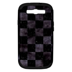Square1 Black Marble & Black Watercolor Samsung Galaxy S Iii Hardshell Case (pc+silicone) by trendistuff