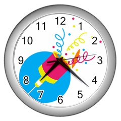 Celebration Injecting Wall Clocks (silver)  by Mariart