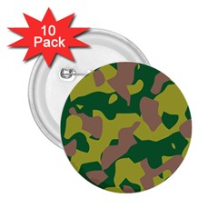 Camouflage Green Yellow Brown 2 25  Buttons (10 Pack)