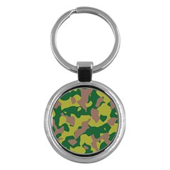 Camouflage Green Yellow Brown Key Chains (round)  by Mariart