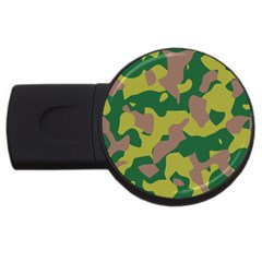 Camouflage Green Yellow Brown Usb Flash Drive Round (2 Gb) by Mariart
