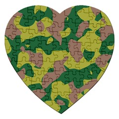 Camouflage Green Yellow Brown Jigsaw Puzzle (heart) by Mariart