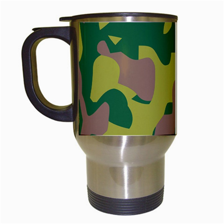 Camouflage Green Yellow Brown Travel Mugs (White)