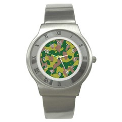 Camouflage Green Yellow Brown Stainless Steel Watch