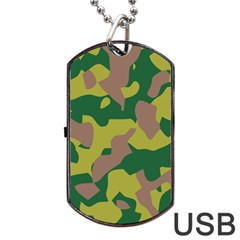 Camouflage Green Yellow Brown Dog Tag Usb Flash (two Sides) by Mariart