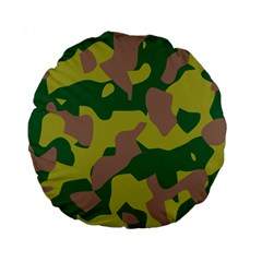 Camouflage Green Yellow Brown Standard 15  Premium Round Cushions by Mariart