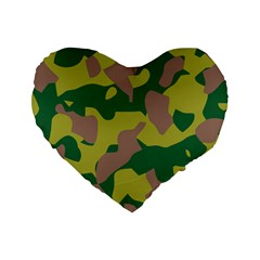 Camouflage Green Yellow Brown Standard 16  Premium Heart Shape Cushions by Mariart