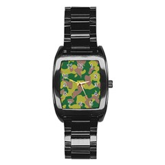 Camouflage Green Yellow Brown Stainless Steel Barrel Watch by Mariart