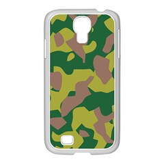 Camouflage Green Yellow Brown Samsung Galaxy S4 I9500/ I9505 Case (white) by Mariart