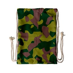 Camouflage Green Yellow Brown Drawstring Bag (small) by Mariart