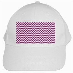 Chevron Wave Purple White White Cap by Mariart