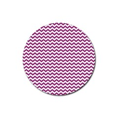 Chevron Wave Purple White Rubber Round Coaster (4 Pack)  by Mariart