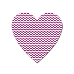Chevron Wave Purple White Heart Magnet by Mariart