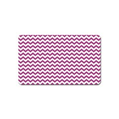 Chevron Wave Purple White Magnet (name Card) by Mariart