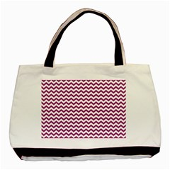 Chevron Wave Purple White Basic Tote Bag by Mariart