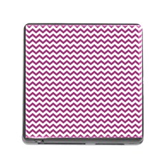Chevron Wave Purple White Memory Card Reader (square) by Mariart