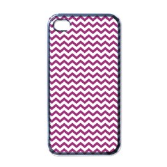 Chevron Wave Purple White Apple Iphone 4 Case (black) by Mariart