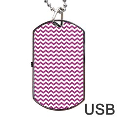 Chevron Wave Purple White Dog Tag Usb Flash (two Sides) by Mariart
