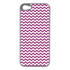 Chevron Wave Purple White Apple Iphone 5 Case (silver) by Mariart