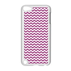 Chevron Wave Purple White Apple Ipod Touch 5 Case (white) by Mariart