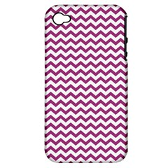 Chevron Wave Purple White Apple Iphone 4/4s Hardshell Case (pc+silicone) by Mariart