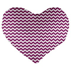 Chevron Wave Purple White Large 19  Premium Heart Shape Cushions by Mariart