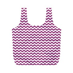 Chevron Wave Purple White Full Print Recycle Bags (m)  by Mariart