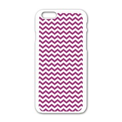 Chevron Wave Purple White Apple Iphone 6/6s White Enamel Case by Mariart