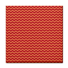Chevron Wave Red Orange Tile Coasters by Mariart