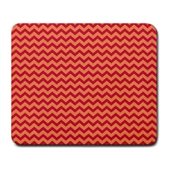 Chevron Wave Red Orange Large Mousepads by Mariart