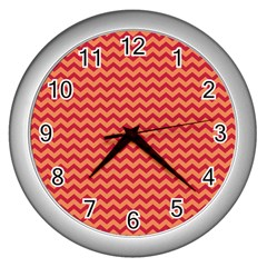 Chevron Wave Red Orange Wall Clocks (silver)  by Mariart