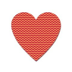 Chevron Wave Red Orange Heart Magnet by Mariart